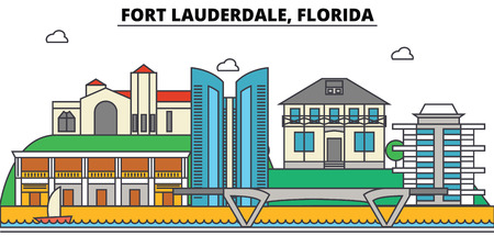 Fort Lauderdale. City skyline, architecture, buildings, streets, silhouette, landscape, panorama, landmarks. Editable strokes. Flat design line illustration concept. Isolated icons