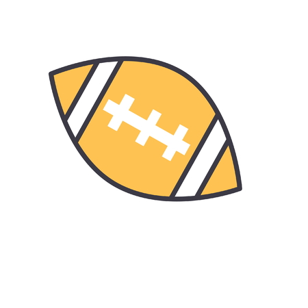 American football ball flat line illustration, concept vector icon isolated on white background