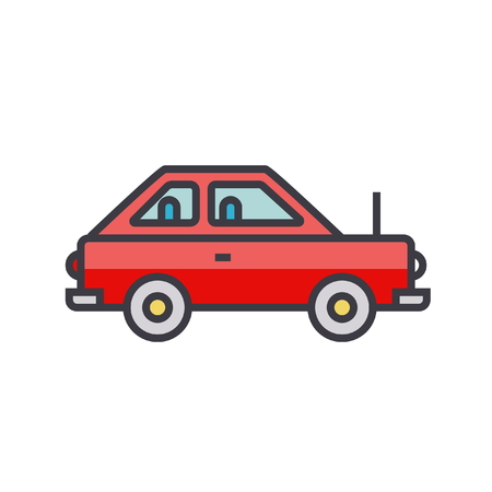 Simple cute car, vehicle flat line illustration, concept vector icon isolated on white background