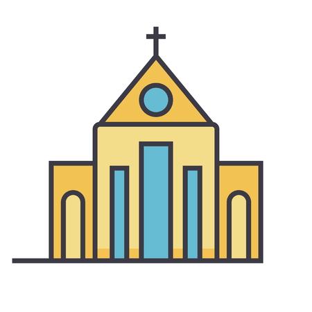 Kerk plat lijn illustratie, concept vector pictogram geïsoleerd op een witte achtergrond Stock Illustratie