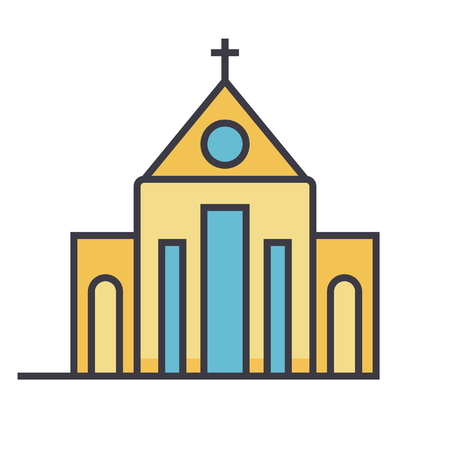 Church flat line illustration, concept vector icon isolated on white background Illustration