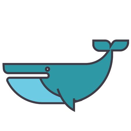 Cachalot vlakke lijn illustratie, concept vector pictogram geïsoleerd op een witte achtergrond Stock Illustratie