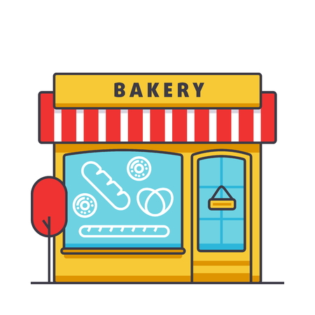 Bakery building flat line illustration, concept vector icon isolated on white background.