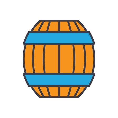 Barrel flat line illustration, concept vector icon isolated on white background
