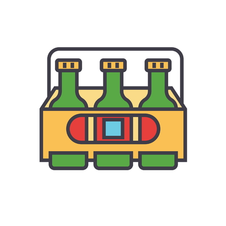 3 beers flat line illustration, concept vector icon isolated on white background.