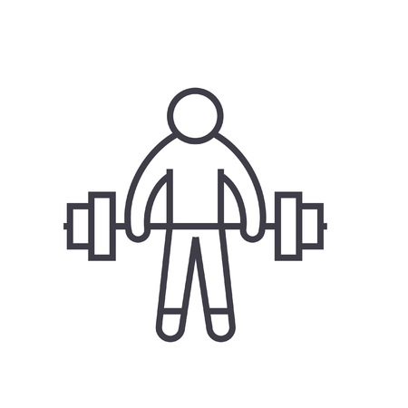 Strong athlete, lifting weights flat line illustration, concept vector isolated icon Illustration