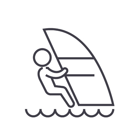 Windsurfing flat line illustration, concept vector isolated icon