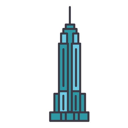 Empire state building illustration de ligne plate, icône de vecteur de concept isolé sur fond blanc. Banque d'images - 85954262