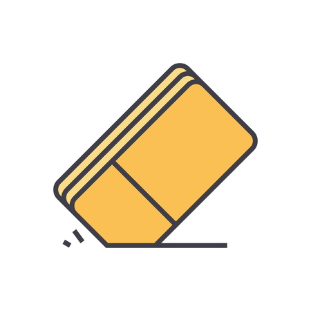 gomme ligne plat vecteur icône notion isolé sur fond blanc Vecteurs