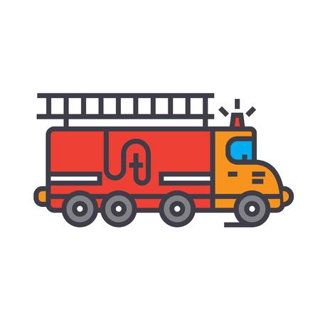 Coche de bomberos, ilustración de línea plana de coche, icono de vector de concepto aislado sobre fondo blanco Foto de archivo - 86035057