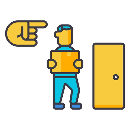 Fired, exit, dismissal flat line illustration, concept vector icon isolated on white background