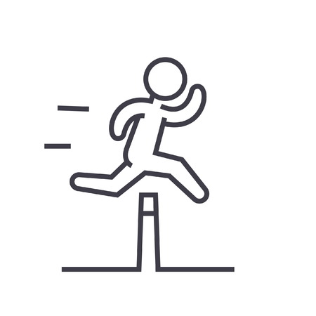 Obstacle race concept plat lijn illustratie, concept vector geïsoleerd pictogram