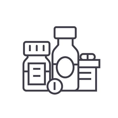 バア、生理活性剤、薬、薬物の平らな線図、概念ベクトル分離アイコン  イラスト・ベクター素材