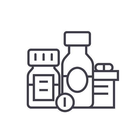 Baa, biologically active additives, pills, medicament flat line illustration, concept vector isolated icon