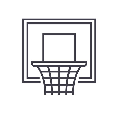 Basketball hoop flat line illustration, concept vector isolated icon
