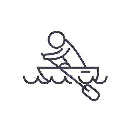 ボートレース、カヤック、ボート レース平らな線図、概念ベクトル分離アイコン