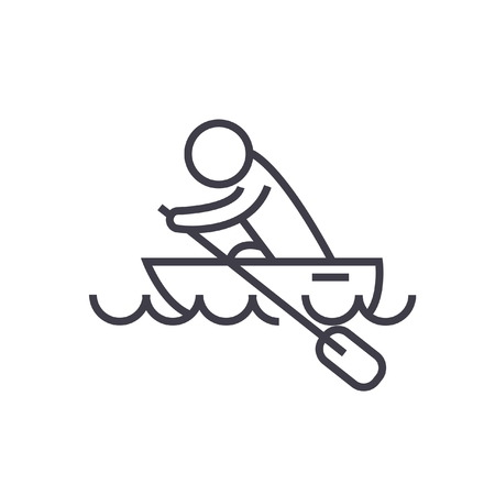 Boat race, kayaks, rowing race flat line illustration, concept vector isolated icon