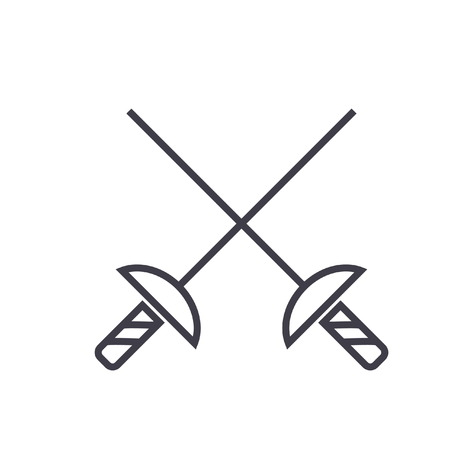 Fencing swords flat line illustration, concept vector isolated icon