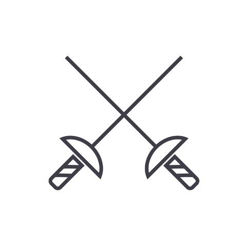 Schermen zwaarden platte lijn illustratie, concept vector geïsoleerde pictogram