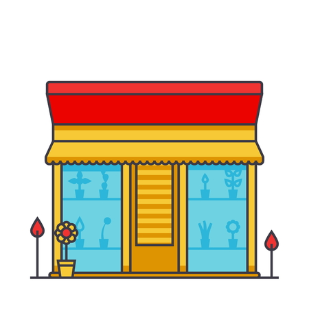 Flower shop, floral, floristy flat line illustration, concept vector icon isolated on white background Ilustracja