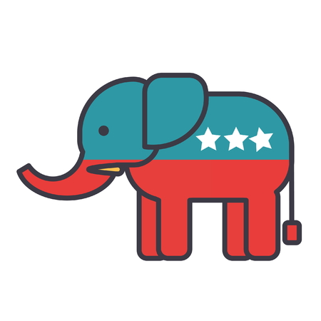 Elephant, usa, republican party flat line illustration, concept vector icon isolated on white background Stock Illustratie