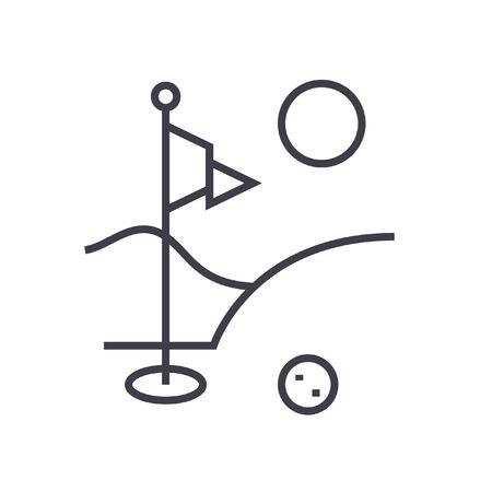 Golf veld platte lijn illustratie, concept vector geïsoleerde pictogram