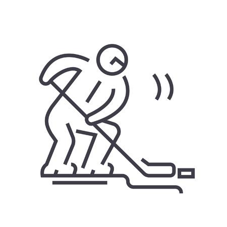hockey goal: Hockey player flat line illustration, concept vector isolated icon