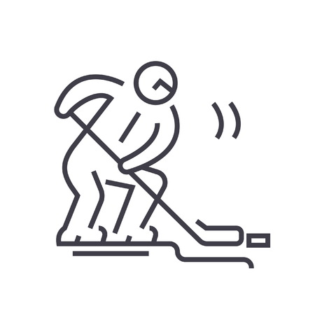 Hockey player flat line illustration, concept vector isolated icon