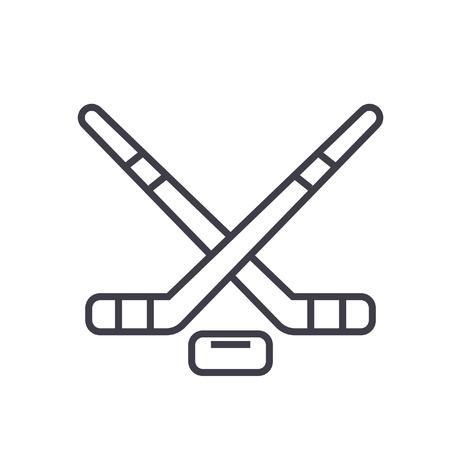 Hockey platte lijn illustratie, concept vector geïsoleerd pictogram Stock Illustratie