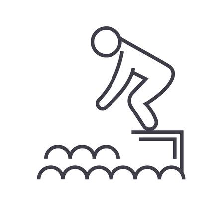 물, 수영장 평면 그림, 개념 벡터 격리 된 수영장에서에서 점프 일러스트