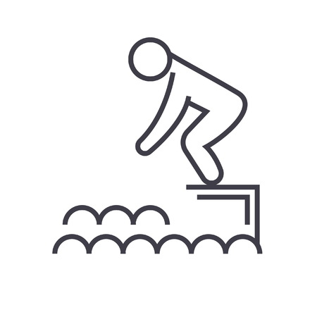 Saltar en el agua, la piscina ilustración línea plana, vector concepto aislado Foto de archivo - 86168707