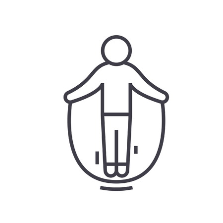 Jumping rope flat line illustration, concept vector isolated icon