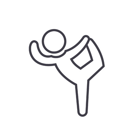 Pilates, gymnastics, practice, exercise flat line illustration, concept vector isolated icon