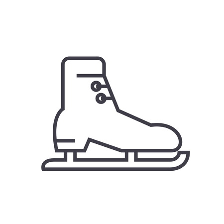 Skates, racing flat line illustration, concept vector isolated icon