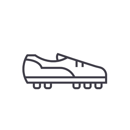 Soccer boot flat line illustration, concept vector isolated icon
