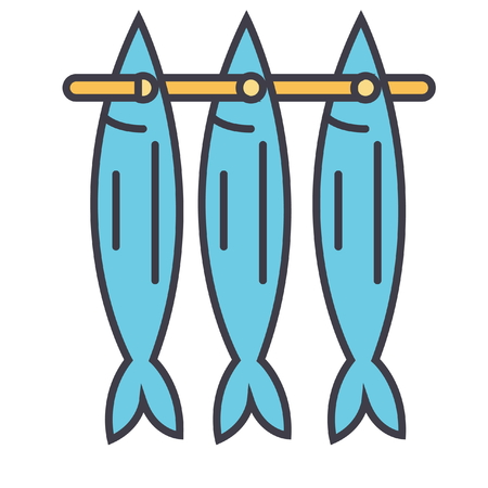 Fish drying flat line illustration, concept vector icon isolated on white background