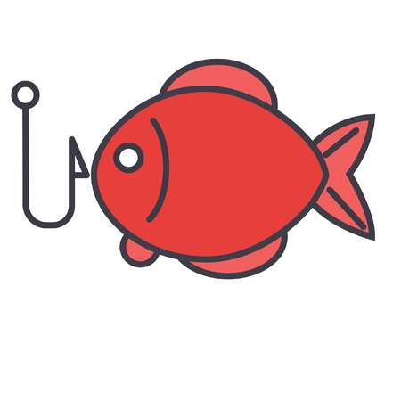 Fishing, fish  flat line illustration, concept vector icon isolated on white background