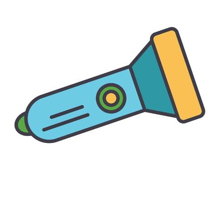 Flashlight flat line illustration, concept vector icon isolated on white background Illustration