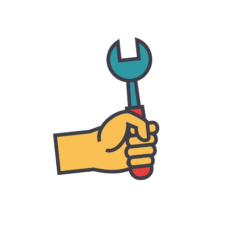 Hand with screwdriver flat line illustration, concept vector icon isolated on white background Illustration