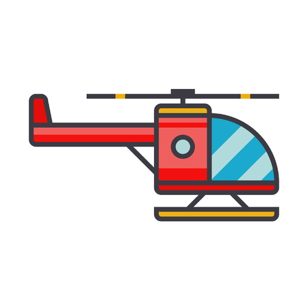 Helicopter flat line illustration, concept vector icon isolated on white background