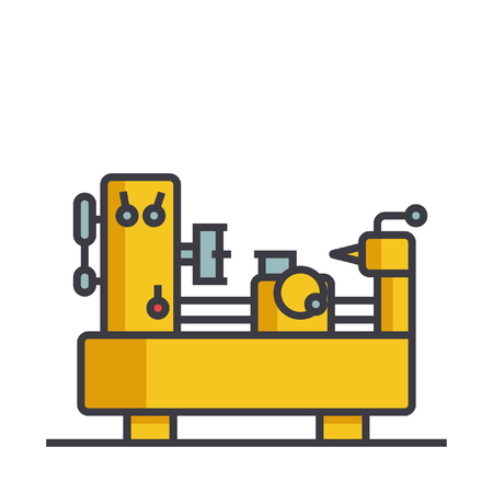 Industrial equipment machine flat line illustration, concept vector icon isolated on white background