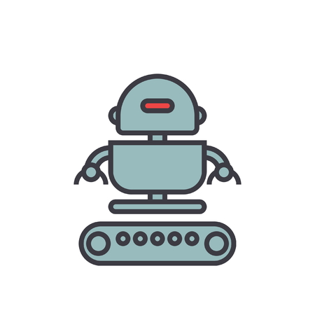 Industrial robot army flat line illustration, concept vector icon isolated on white background