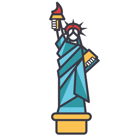 Liberty statue new york flat line illustration, concept vector icon isolated on white background