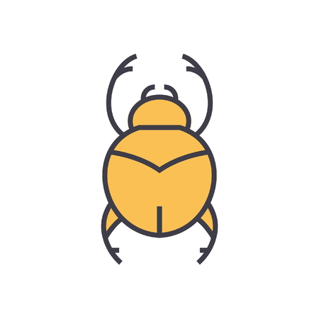 Bugs simple, egypt flat line illustration, concept vector icon isolated on white background