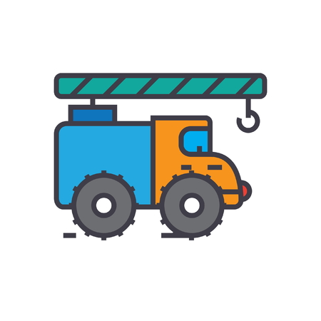 construction: Crane truck, construction vehicle flat line illustration, concept vector icon isolated on white background