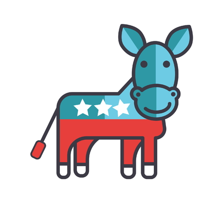 Donkey, usa, democrat party flat line illustration, concept vector icon isolated on white background