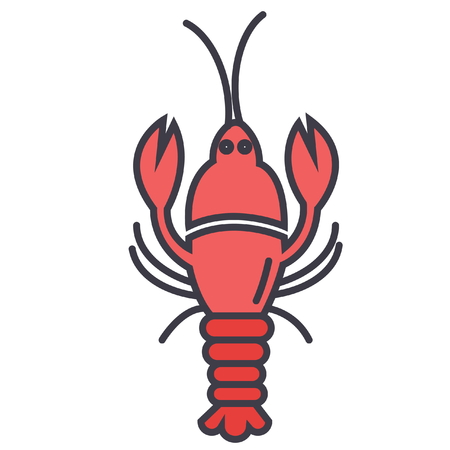 Lobster flat line illustration, concept vector icon isolated on white background
