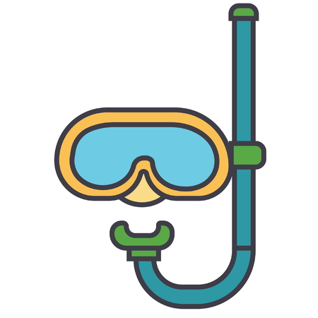 Diving mask  flat line illustration, concept vector icon isolated on white background Illustration