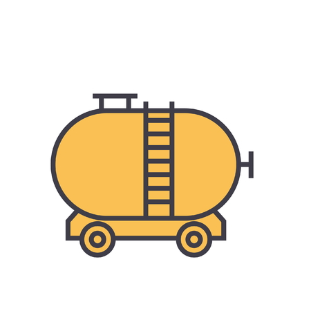 Oil tank flat line illustration, concept vector icon isolated on white background Illustration