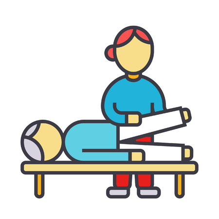 Osteopatía, terapia manual, ilustración de línea plana de masaje, icono de vector de concepto aislado sobre fondo blanco Ilustración de vector
